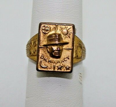 Dick Tracy Secret Compartment Ring 1940s Top removes to Reveal Compartment