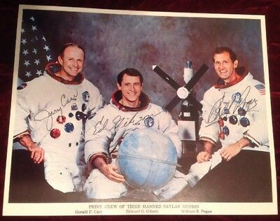 SKYLAB 3 ASTRONAUT LOT Jerry Carr Ed Gibson Bill Pogue Signed Autograph NASA