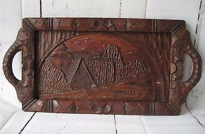 Rustic Vintage Carved Wooden Serving Tray Mexico Village Scene
