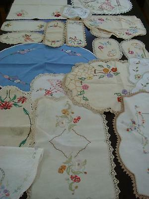 Large lot of embroidered linens and doilies, tray cloths