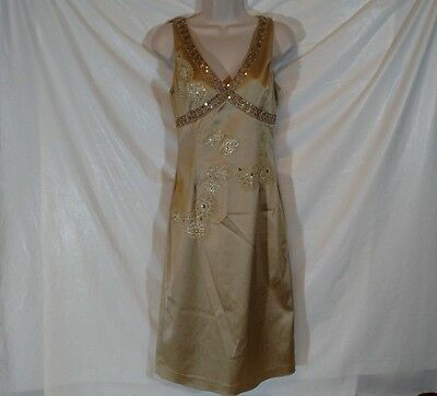 PAPELL BOUTIQUE EVENING Dress Formal Party Prom Women Size 6 Knee Length Gold