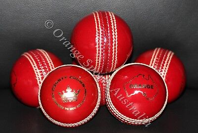 12 X Orange County Crown BAT FRIENDLY 2 Piece RED Leather Cricket Ball
