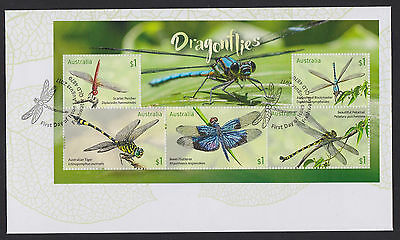 Australia 2017 :  Dragonflies First Day Cover with Minisheet, Mint Condition