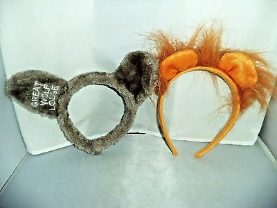 """Great Wolf Lodge """"Wolf"""" and """"Lion"""" Ears, 2 sets Animal Headbands"""