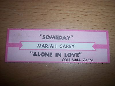 """1 Mariah Carey Someday / Alone In Love Jukebox Title Strips CD 7"""" 45RPM Records"""