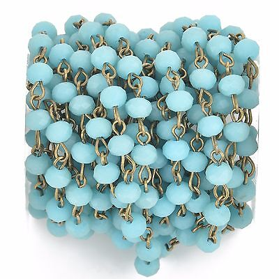1yd Matte TURQUOISE BLUE Crystal Rondelle Rosary Chain, bronze, 6mm fch0671a