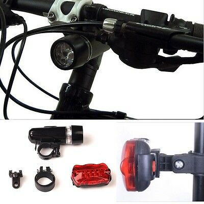 Waterproof 5 LED Lamp Bike Bicycle Front Head Light + Rear Safety Flashlight Hot