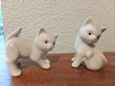 Vintage 2  OMC Japan Cats White & Gray Porcelain Figurines w/tags