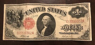 1917 $1 One Dollar Bill United States Large Currency Note (very Fine+++ Tears)
