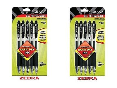 10 x ZEBRA Sarasa BLACK Rapid Dry Ink Gel Retractable Pens Med 0.7mm