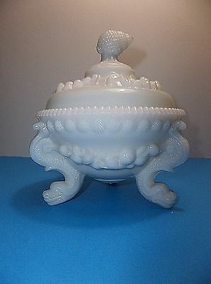 Portieux Vallerysthal French Art Glass Argonaut SHELL Covered Dish DOLPHIN FOOT