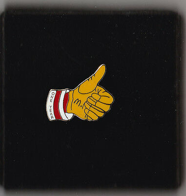 Ronald McDonald's Thumbs Up 1 Year Service Pin In Box Red, White, Yellow, Gold