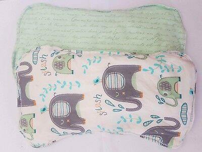 BURP CLOTHS SET OF 2  Pale Yellow And Pale Green Uni Sex Elephant
