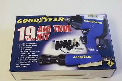 Goodyear GY2100 19Pc Air Tool Kit - Impact Wrench Ratchet and Socket Set in Case
