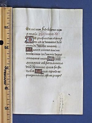 Medieval BoH,Manuscript Leaf,Vellum,Deco Initials in several colors,c.1485