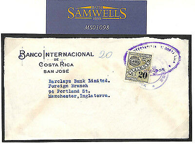 MS1098 1934 Costa Rica to GB/Official/Banking