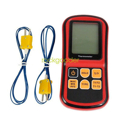 Dual Two 2 K-Type Digital Channel Thermometer Thermocouple Sensor rd UK