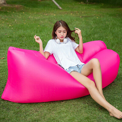 Inflatable Lounger Chair,Outdoor Soft Air Sleeping Bag , Portable Sofa--rosered