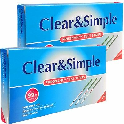 6 x PREGNANCY TEST STRIPS - CLEAR & SIMPLE Early Detection Home Testing Kit/Set