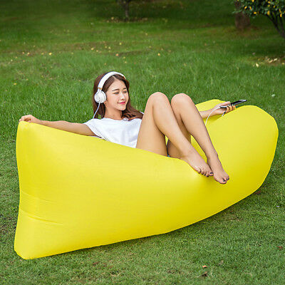 Outdoor Inflatable Lounger Chair, Portable Sofa,Air Sleeping Bag --Yellow