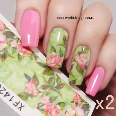 2X Water Decals Nail Art Transfer Stickers Green Pink Lotus Manicure Tips XF1420