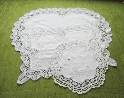 2 TRAY CLOTHS & MAT-HAND EMBROIDERED with BOBBIN LACE TRIM