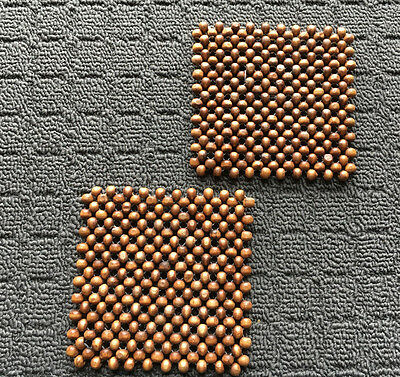 """2pk WOODEN BEADED """"Brown"""" Wood Square Decorative Plastic Drink Coasters"""
