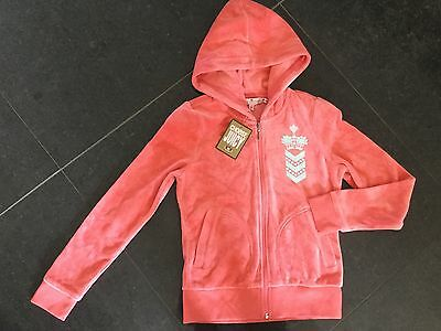 NWT Juicy Couture New & Genuine Girls Age 8 Peach Velour Hoody With Juicy Logo