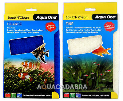 Aqua One Scrub n Clean Algae Scrubbers Fine/Coarse for Plastic/Glass Aquariums
