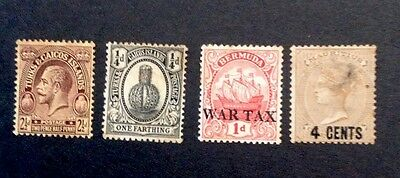 4 Very Old World Stamps- Turks & Caicos Islands, Mauritius, Bermuda-2 Overprints