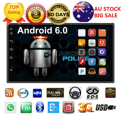 """7"""" Android 6.0 2DIN Quad Core Car Radio Stereo MP5 Player GPS Double 3G WIFI"""
