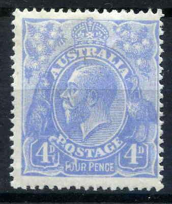 4d BLUE KING GEORGE V SINGLE WMK MINT WITH LISTED VARIETY CV $1000