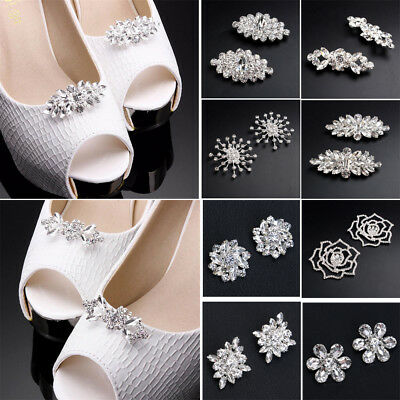 Vintage Crystal Sparkly Wedding Bridal Shoe Clips for High Heel Decor 1Pairs