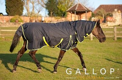 Gallop Medium Weight 200g turnout rug Combo Neck Cover navy/yellow. ALL SIZES