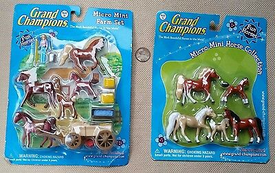 NEW SEALED Lot Grand Champions Micro Mini Farm Set w/ fun horse wagon Collection