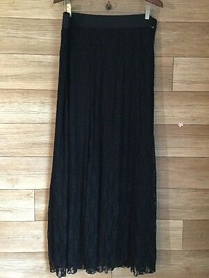 Maurices Size 0 Black Lace Skirt Elastic Stretch Waist Floor Length