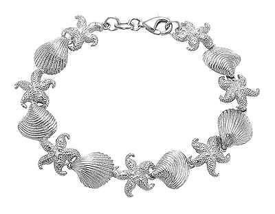 Sterling Silver Starfish, Scallop, & Clam Shell Bracelet -  BR127
