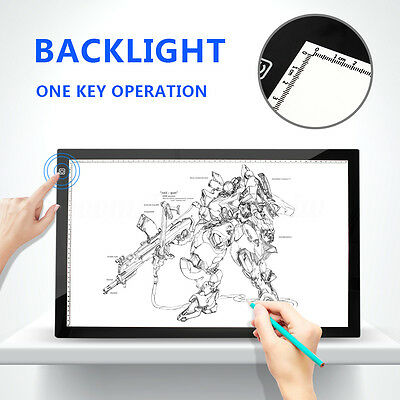 A2 LED LightBox Pattern Tracing Pad Art Design Stencil Drawing Touch Board AU