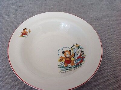 "Vintage Sooty childrens bowl decorated with "" Sooty and Sweep  at the Sea Side """