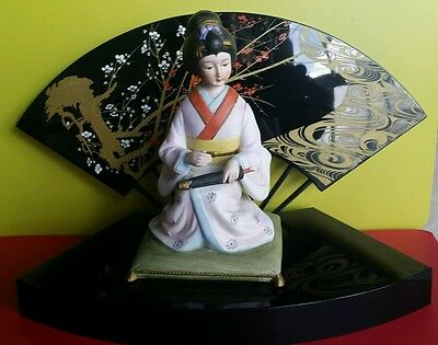 Vintage Geisha With 2 Pieces Base MUSIC BOX Made in Japan