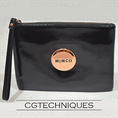 Mimco Black Rose Gold Medium Pouch Wallet Patent Leather Rrp $99.95