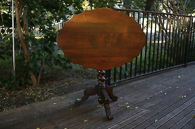 Antique French Oak Tilt Top Occasional Barley Twist Table