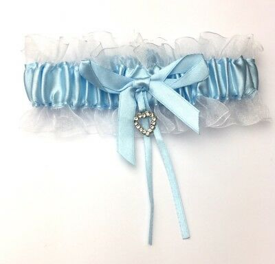 Blue and white bridal garter with small diamante heart