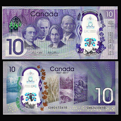Canada 10 Dollars, 2017, P-NEW, Polymer, 150th Anniversary Note