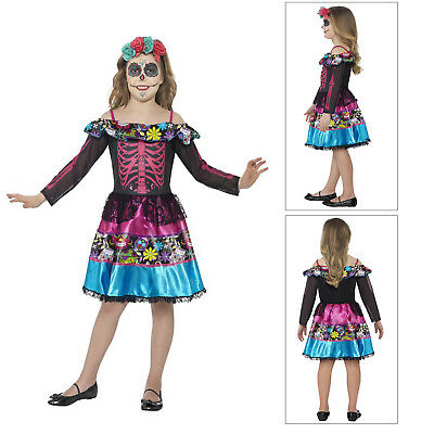 Smiffys Chlds Day Of The Dead Sweetheart Mexican Skeleton Girls Halloween Dress