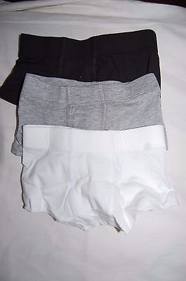 3 Pairs Cotton Rich Trunks 1 Black, 1 Grey, 1 White M&S Age 1.5-2 Years BNIP