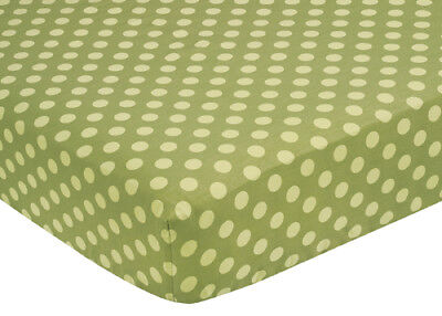 Sweet Jojo Designs Forest Animal Crib or Toddler Fitted Sheet - Tonal Green Dot