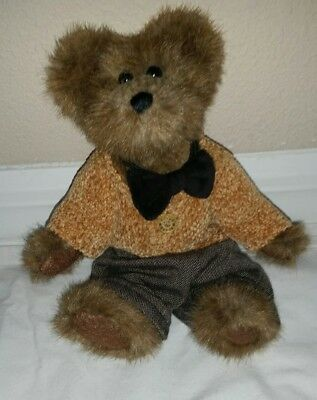 "Boyds Bear ""Matthew H. Bear"" Yellow Sweater Black Pants and Bow Tie"