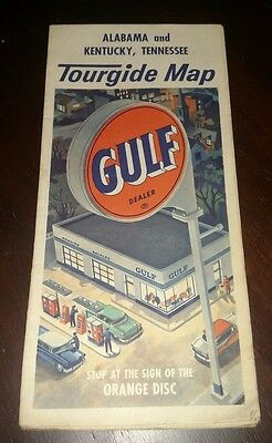 Vintage Tourgide Map Alabama Kentucky Tennessee GULF DEALER Oil