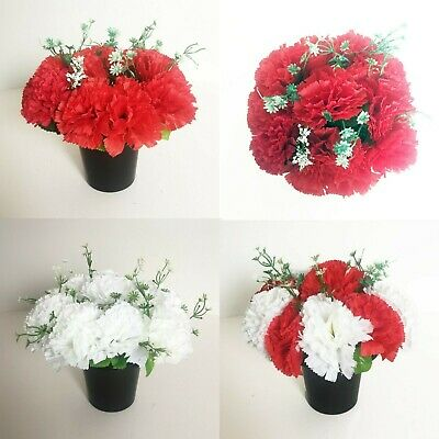 Artificial Graveside Carnations Flowers, Red & White Crem Pots / Vase Memorial